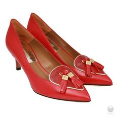 FERI - Sharon Shoes Red - Ladies genuine leather kitten heels - Made with smooth… Designer Dress Shoes, Shoes For Less, High End Shoes, Red Heels, Luxury Shoes, Cow Leather, Kitten Heels, Fashion Accessories, Colour Red