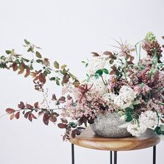 Elegant Springtime centerpiece by Sarah Winward.