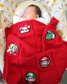 KNit Nintendo baby blanket @bernadette saad! Whenever you guys have kids, this is coming at ya!!:-)