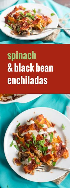 Corn tortillas are stuffed with a mixture of refried black beans and spinach, smothered in spicy sauce and baked up until piping hot to create these spicy and hearty vegan enchiladas. - Don't use corn tortillas to make it healthier. Vegan Mexican Recipes, Delicious Vegan Recipes, Vegetarian Recipes, Healthy Recipes, Healthy Food, Vegetarian Main Dishes, Vegan Dishes, Food Dishes, Vegetarian Mexican