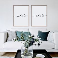 Inhale Exhale Print, Minimalist Typography Art, Yoga Wall Art, Pilates Art, Relaxation Gifts, Breathe Print, Home Wall Art, Instant Download by GreenLifePrints on Etsy https://www.etsy.com/listing/485798609/inhale-exhale-print-minimalist