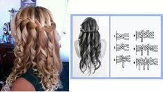 Curly Hair Waterfall Braid Are you looking for an elegant curly hair braided style? Curled Hair With Braid, Curly Hair Braids, Braids With Curls, Long Curly Hair, Pretty Braids, Cool Braids, Braided Hairstyles Tutorials, Diy Hairstyles, Easy Hairstyle