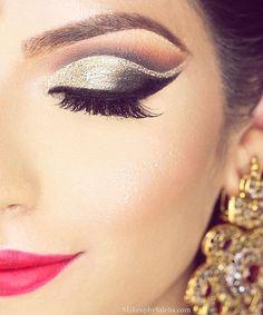 """Gorgeousness #Saleha Beauty """"Arabian Nights"""" eyeliner #saleha Night Hairstyles, Party Hairstyles, Party Makeup, Wedding Makeup, Makeup Inspo, Makeup Art, Arabian Nights Wedding, Eyeliner, Pakistani Bridal Makeup"""