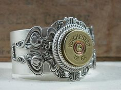 Winchester 12 Gauge Shotgun Shell Steampunk Inspired Antique Silver Cuff Bracelet - The Well Armed Woman. i would so wear this on my wedding day! Shotgun Shell Jewelry, Ammo Jewelry, Jewelery, Jewelry Accessories, Jewelry Design, Spoon Jewelry, Silver Jewelry, Shotgun Shells, Ammo Crafts