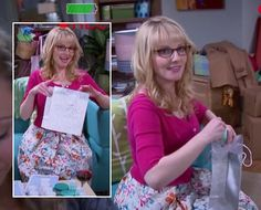 Bernadette's white floral dress with pink cardigan on The Big Bang Theory. I love her dresses and cardigan sweaters.
