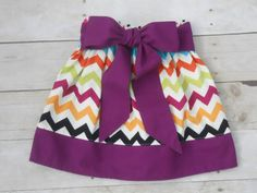 The Sweet Pea Twirl Skirt, Fall Chevron on Cream with Plum Bow Sash, Baby, Toddler, Girls sizes