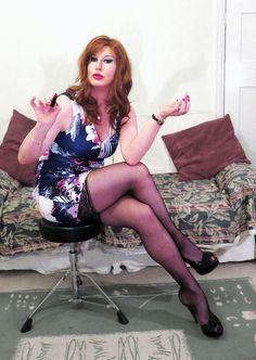 Elizabeth Stacey is worth the wait, Daddy. Black Stockings, Tgirls, Crossdressers, Punk, Legs, Womens Fashion, Beautiful, Daddy, Dresses