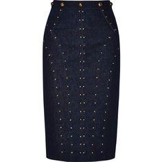 Tamara Mellon - Studded Stretch-denim Skirt ($325) ❤ liked on Polyvore featuring skirts, mini skirts, dark denim, blue skirt, tamara mellon, dark denim skirt, leopard skirt and leopard print skirt