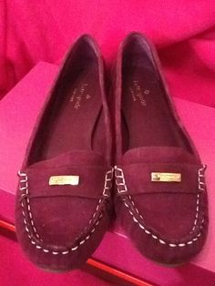 Kate Spade Shoes Driving Moccasins Flats Amethyst NWT $198 Purple Suede Size 9 #katespade #LoafersMoccasins