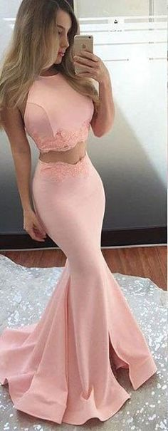 Long Prom Dresses,Satin Prom Gowns,Two Piece Prom Dress,Sleeveless Prom Dress,Sexy Mermaid Party Dress