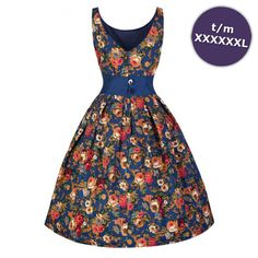 Swing Lana jurk met bloemen print donkerblauw - Vintage, 50's, Rockabilly, retro