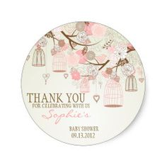 Pink Vintage Birdcages Floral Baby Shower Sticker