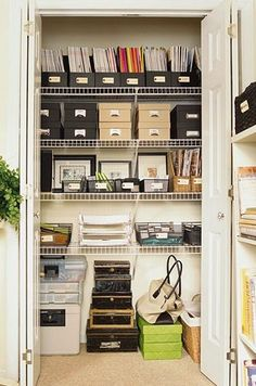 Neat way to store paperwork.  If you are using a spare bedroom for an office utilize the closet space!
