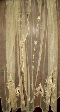 Vintage Tambour Embroidery Lace Curtain Panels