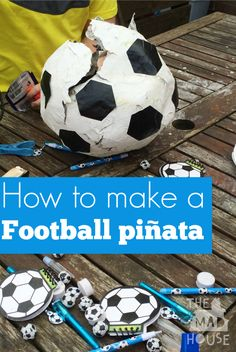 How to make a Football pinata or Soccer ball piñata. This football pinata is fab for kids parties and even better you do not need a stick!