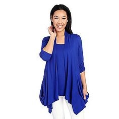 5a244929511 Kate  amp  Mallory® Knit 3 4 Sleeve Draped Pocket Open Cardigan  amp