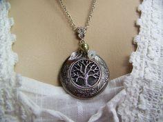 Tree of Life Locket Olive Swarovski Pearl by CreatedinTheWoods, $21.95