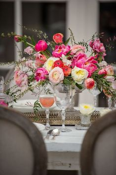 This centerpiece provides a bright pop of pink on the table at this destination wedding in Paris Blush Pink Wedding Flowers, Christmas Wedding Flowers, Pastel Pink Weddings, Bridesmaid Flowers, Floral Wedding, Boho Wedding, Wedding Bouquets, Wedding Cake, Destination Wedding Inspiration
