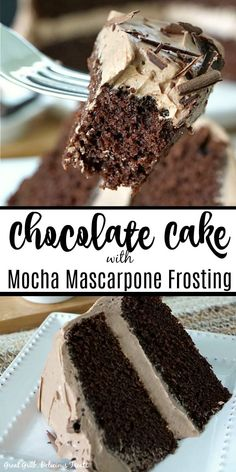 Chocolate Cake with Mocha Mascarpone Frosting is a moist and delicious chocolate cake with espresso in the cake and frosting. # chocolate cake Chocolate Cake with Mocha Mascarpone Frosting Homemade Frosting, Frosting Recipes, Homemade Cakes, Cake Recipes, Mascarpone Frosting Recipe, Mascarpone Cake, Yummy Recipes, Dessert Recipes, Tasty Chocolate Cake