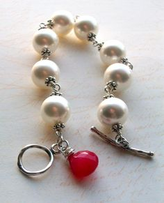 Hot Pink  Pearl and Pink Chalcedony Bracelet by JustBeCreative, $44.00