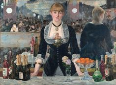 Edouard Manet - Bar at the Folies-Bergeres Art Print. Explore our collection of Edouard Manet fine art prints, giclees, posters and hand crafted canvas products Post Impressionism, Impressionist Paintings, Claude Monet, Renoir, Painting Frames, Painting Prints, Mirror Painting, Woman Painting, Painting Art