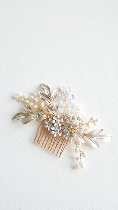 Gold Wedding Hair Comb Bridal Hair Comb White Opal Crystal