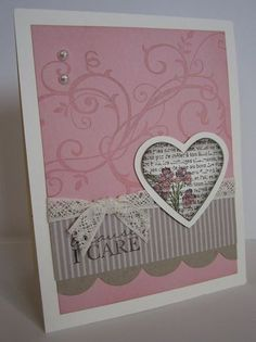By Lori Heiling. She didn't make it as a Valentine's Day card, but I could CASE it & use it as one! So pretty!