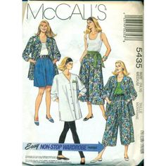 McCalls 5435 14 to 16 split skirt sewing pattern with leggings, tank top, shirt tank top.