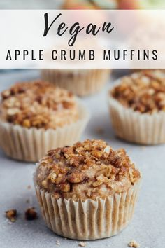 These vegan apple crumb muffins are loaded with apples, warming spices, and a delicious crumb topping! It& the perfect healthy muffin recipe! Healthy Muffin Recipes, Healthy Muffins, Vegan Breakfast Recipes, Vegan Recipes, Vegan Foods, Bread Recipes, Vegan Apple Muffins, Apple Oatmeal Muffins, Cake Mix Desserts