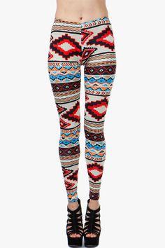 Nautural Red Pop Aztec Legging