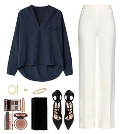 A fashion look from January 2016 featuring navy blue shirt, high-waisted wide leg pants and pointy-toe pumps. Browse and shop related looks. Formal Casual, Casual Chic, Kpop Outfits, Fashion Outfits, Fashion Trends, Classy Outfits, Stylish Outfits, Outing Outfit, Stylish Dress Designs
