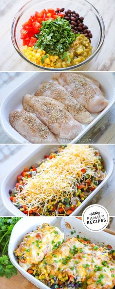 Best chicken breast dinner recipe this easy one dish southwest chicken bake has so much flavor and is packed with healthy veggies beans and mild spices perfect for a busy night dinner idea! Healthy Dinner Recipes For Weight Loss, Easy Healthy Dinners, Easy Dinner Recipes, Healthy Recipes With Chicken, Quick Easy Healthy Dinner, Healthy Supper Ideas, Healthy Casserole Recipes, Lasagna Recipes, Pizza Recipes