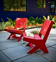 Lotus Outdoor Lounge Chairs by Loll Designs. Made from 100% recycled plastic and available in 10 colors.