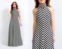 vintage 70s Black  White CHEVRON striped Maxi by TinRoofVintage, $165.00