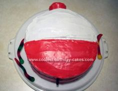 Homemade Fishing Bobber Cake: For this homemade fishing bobber cake I started out by making two 8 or 9 round cakes. I like to line the bottom of my cake pans with waxed paper so that