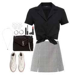 """""""Monochrome"""" by elo379 ❤ liked on Polyvore featuring Converse, Hallhuber, Yves Saint Laurent, Giorgio Armani, Forever 21 and Accessorize"""
