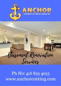 Contact AnchorCutting - well known name in basement renovation services in Brampton, Mississauga, Milton and Oakville. Basement Renovations