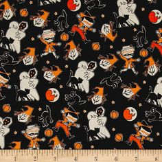Chillingsworth/'s Spooky Ride Halloween Fabric Bats On Black Premium Cotton Mr