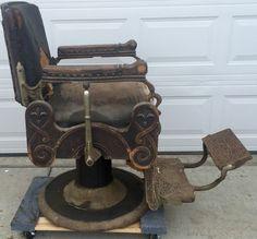 RARE Antique Oak Congress Style Koken Barber Shop Chair 1901 Working Hydraulics   eBay