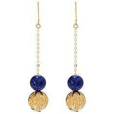 "Stefano Oro 14K Gold 2.5"" 10mm Gemstone Openwork Ricami Drop Earrings"