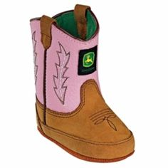 John Deere - Infants Johnny Popper Boots - Pink Tan, Girls Western Boots - Crib Wellington, Tan Crazy Horse Foot, Pink Leather Top, Soft Moisture Wicking Lining, Stitch and Turn Construction, Velcro Back Closure, Grip Pads on Sole, Whole Sizes Only.