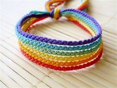 Muted Rainbow Friendship Bracelet Set - Six Thin Knotted Bracelets