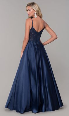Shop illusion-bodice long satin prom dresses at Simply Dresses. Long satin formal a-line dresses and v-neck evening dresses with embroidered bodices, rhinestones, and side pockets. Floral Homecoming Dresses, Bridesmaid Dresses Plus Size, Prom Dresses Jovani, V Neck Prom Dresses, Pageant Dresses, Long Dresses, Dress Long, Pretty Dresses, Fancy Dress