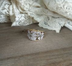 Stunning Gold Plated Silver CZ Engagement Ring by bettyrayvintage