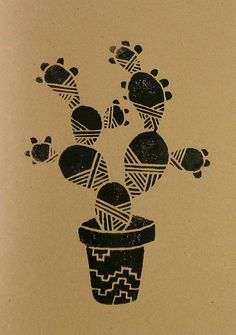 Not So Prickly Pear 5x7 Hand Printed van PaperPlanesMudPies op Etsy