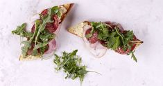 Smoked ham and salami bruschetta by chef Akis. Quick and easy bruschetta with smoked ham and spicy salami. Perfect for a last minute appetizer or snack. Last Minute Appetizer, Smoked Ham, Bruschetta, Avocado Toast, Feta, Healthy Snacks, Spicy, Sandwiches, Appetizers