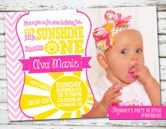 Sunshine Party Invitation Printable You are my sunshine Birthday