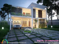Contemporary home - April 2018 house designs Kerala House Design, Unique House Design, House Layout Plans, House Layouts, Facade House, House Facades, Kerala Houses, Contemporary House Plans, Exterior Design