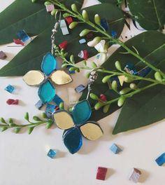 Earrings made of golden and blue tiles Blue Tiles, Spring Flowers, Earrings Handmade, Jewelry, Jewlery, Jewerly, Schmuck, Jewels, Jewelery