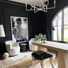 Office Interior Design, Home Office Decor, Office Interiors, Home Interior, Home Decor, Modern Interior, Black Trim Interior, Modern Office Design, Office Designs